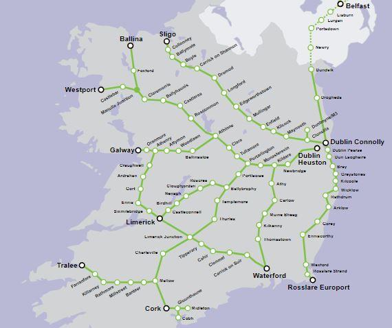 Mappa rete ferroviaria irlandese